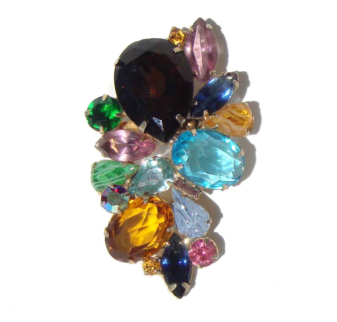 Vintage 50s Cocktail Brooch Jewel Tone Rhinestone Pin