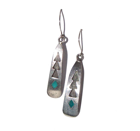 Vintage Southwestern Earrings Indian Sterling Turquoise Drops