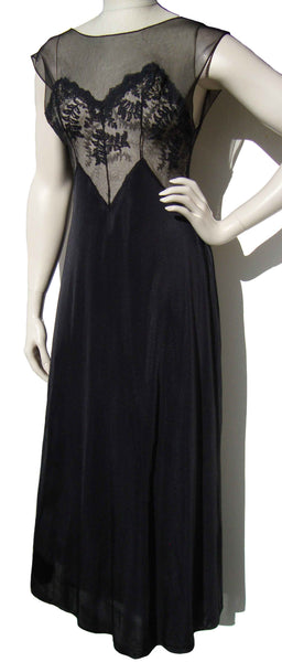 60s Black Nightgown - Metro Retro Vintage