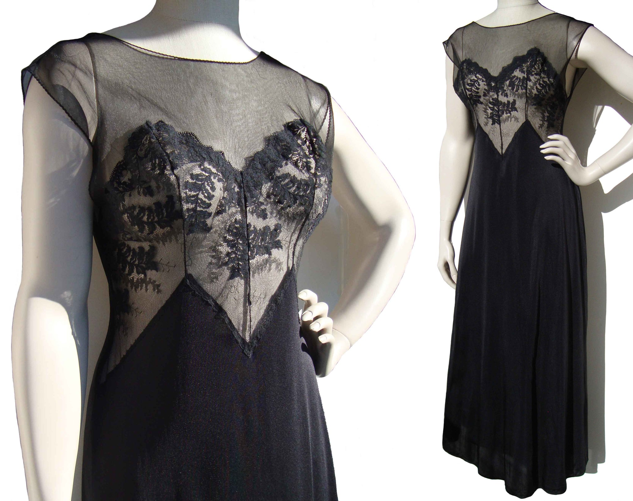 Vintage 60s Val Mode Nightgown Black Nylon Lingerie M