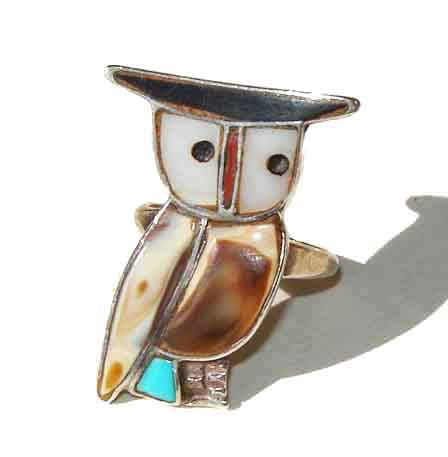 Vintage Zuni Owl Ring Indian Ring