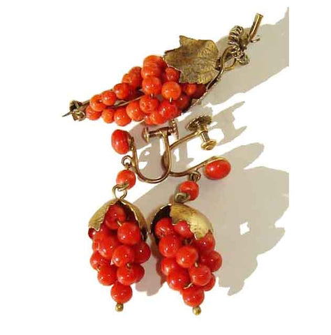 Antique Coral Grape Cluster Brooch & Earrings Demi-Parure Gold Gilt 800 Silver Set