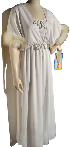 70s White Marabou Dress Gown & Bolero Jacket