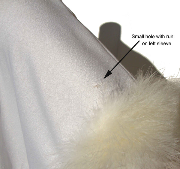 Close Up Flaw on Vintage Marabou Gown and Jacket