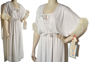 70s White Marabou Dress Gown & Bolero Jacket NOS - M