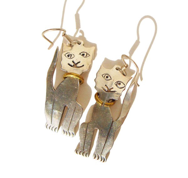 Vintage Taxco Cat Earrings