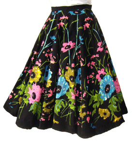 Vintage Rockabilly Circle Skirt Black Floral Sequins & Beads