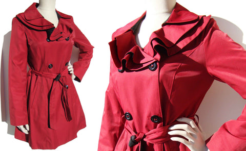 Betsey Johnson Red Trench Coat