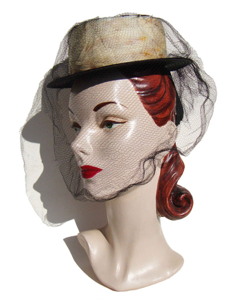 Vintage Ladies Straw and Feather Hat