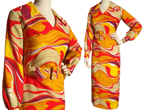 Vintage 70s Psychedelic Dress