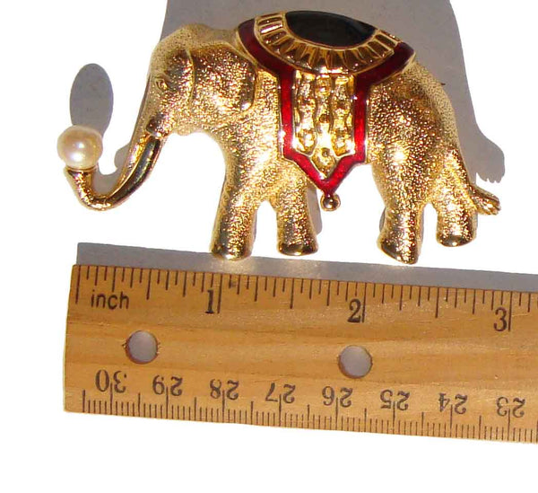 Vintage Asian Elephant Brooch Pin by Monet