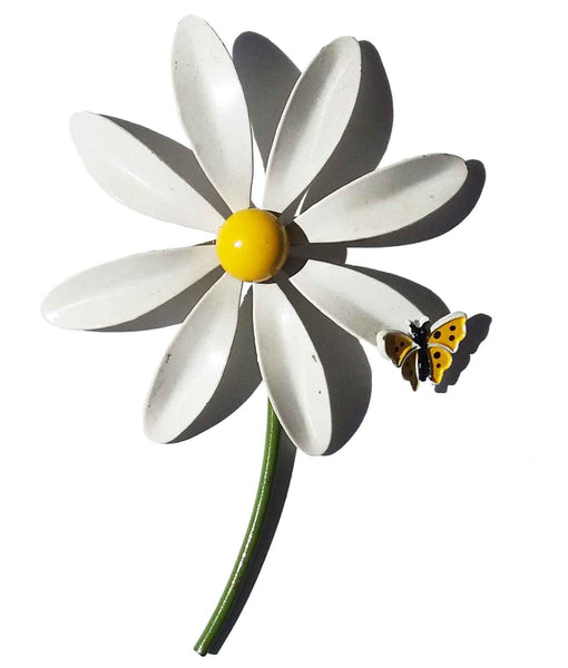 60s Enameled Daisy & Butterfly Brooch