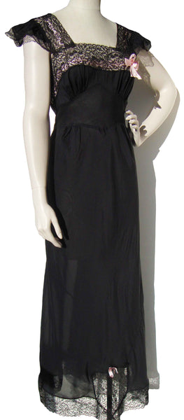 1940s Sheer Black Nightgown