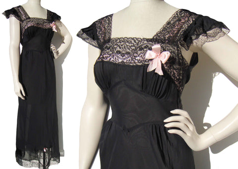 Vintage 40s Black Nightgown Lingerie