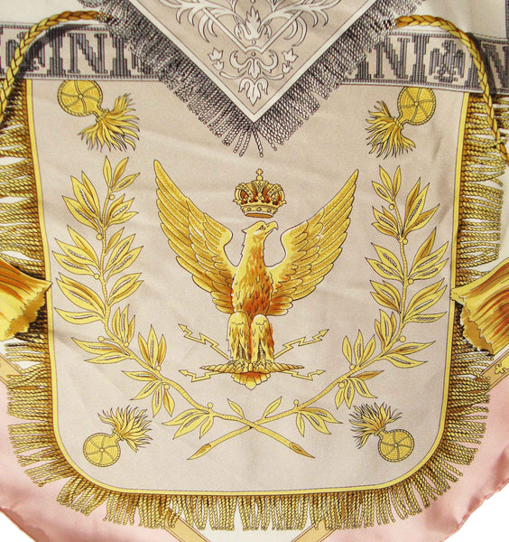 French Imperial Eagle Silk Scarf Foulard