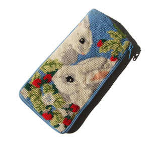 Vintage Eyeglass Case Bunny Rabbits Needlepoint - Stitch & Zip