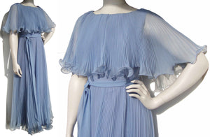 Vintage 70s Dress Miss Elliette Blue Pleated Curly Lettuce Evening Gown M