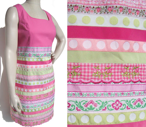 Vintage Lilly Pulitzer Dress Pink & Lime Ribbon Summer Shift M
