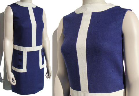 Vintage 60s Mod Dress Blue & White Block Print S / M