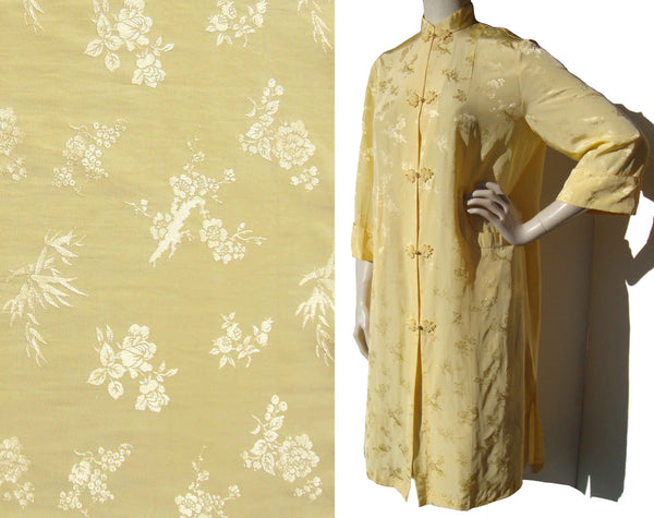 Vintage Chinese Jacket Yellow Damask Robe M - by Youth
