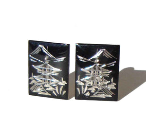 Vintage Japanese Earrings Sterling Niello Pagoda SK