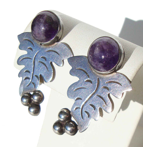 Mexican Amethyst Earrings - Metro Retro Vintage