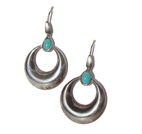 Vintage 60s Mod Earrings Sterling & Turquoise Hoops