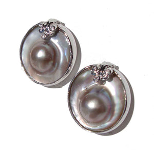 Vintage Blister Pearl Sterling Silver Earrings Omega Back