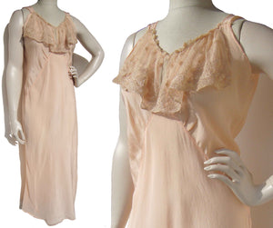 Vintage 30s Nightgown Peach Rayon & Lace Lingerie M