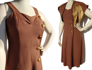 40s Dress & Bolero Jacket Brown & Yellow Art Deco Sundress Set w/ Novelty Buttons M