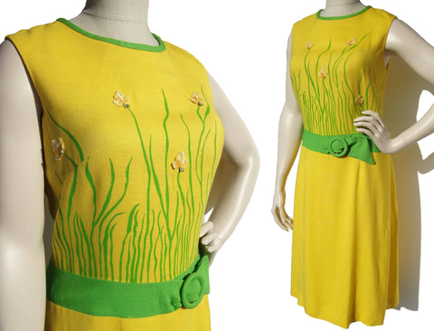 60s Yellow Dress Summer Linen Novelty Floral Print by Carol Brent