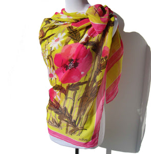 Vera Pink Floral Chiffon Scarf Williamsburg Garden Target Collection