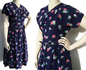 40s Swing Dress Art Deco Blue Rayon Floral & Pink Roses M