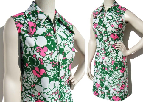 Vintage 70s Dress Mod Pink Green Floral Shift M