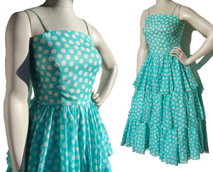 80s Albert Nipon Party Dress Turquoise & White Polka Dot & Ruffles Sundress