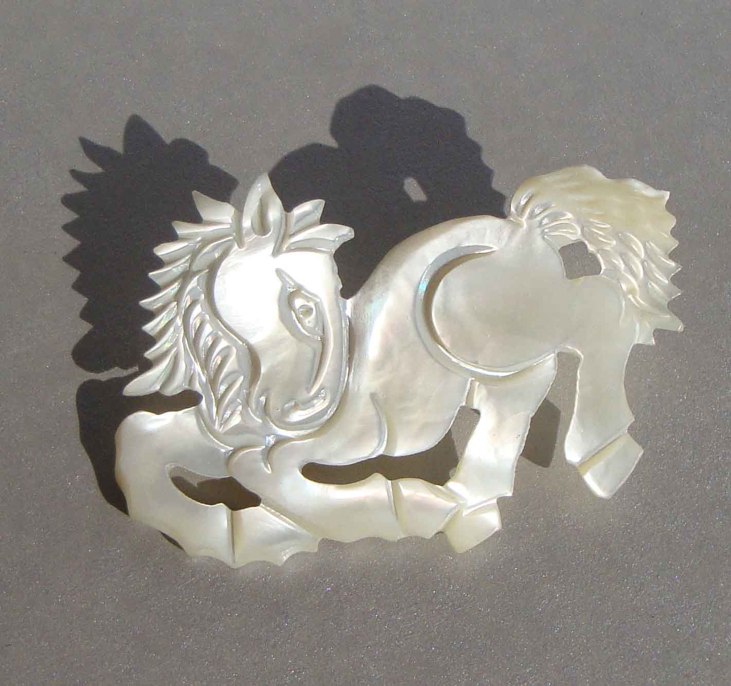 Vintage Mother of Pearl Horse Brooch
