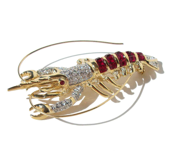 Invisible Setting Crystal Lobster Brooch