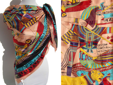 Vintage Ancient Egyptian Scarf by Mary McFadden