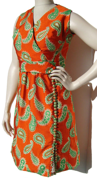 60s Nat Kaplan Orange Paisley Dress