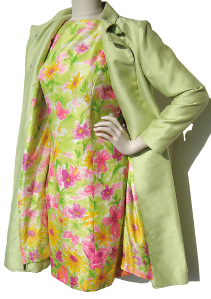 Vintage Floral Silk Dress w/ Coat
