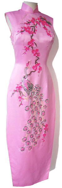 Vintage Pink Cheongsam Dress w/ Beaded Phoenix