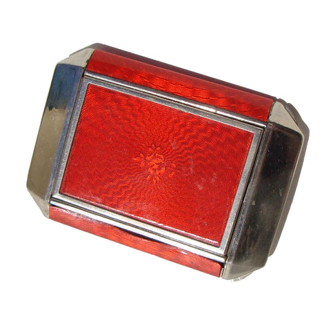 Vintage 30s Red Compact Art Deco Duo Powder & Rouge