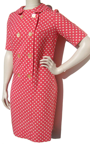 60s Pink Polka Dot Dress - Metro Retro Vintage
