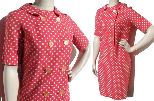 Vintage 60s Pink Dress White Polka Dots Mod Shift M