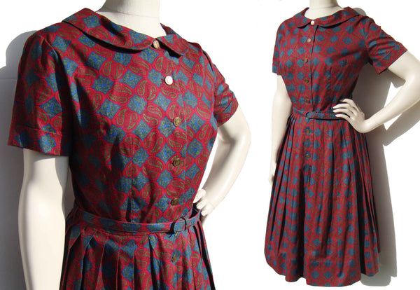 Vintage Nancy Greer Dress Red Blue Persian Novelty Print M