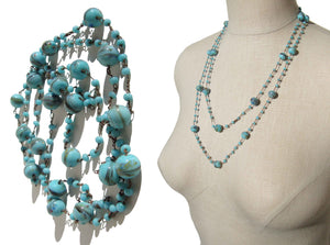 Antique Beaded Flapper Necklace Bohemian Turquoise Lampwork Beads