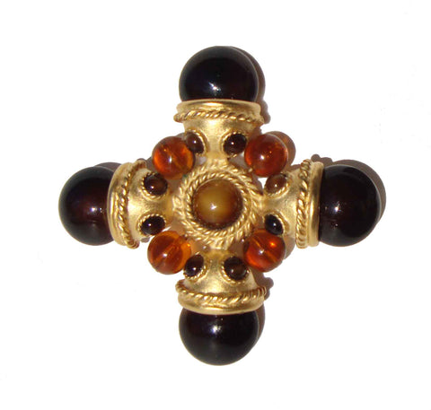 Vintage Carlisle Brooch Maltese Cross Topaz Pin