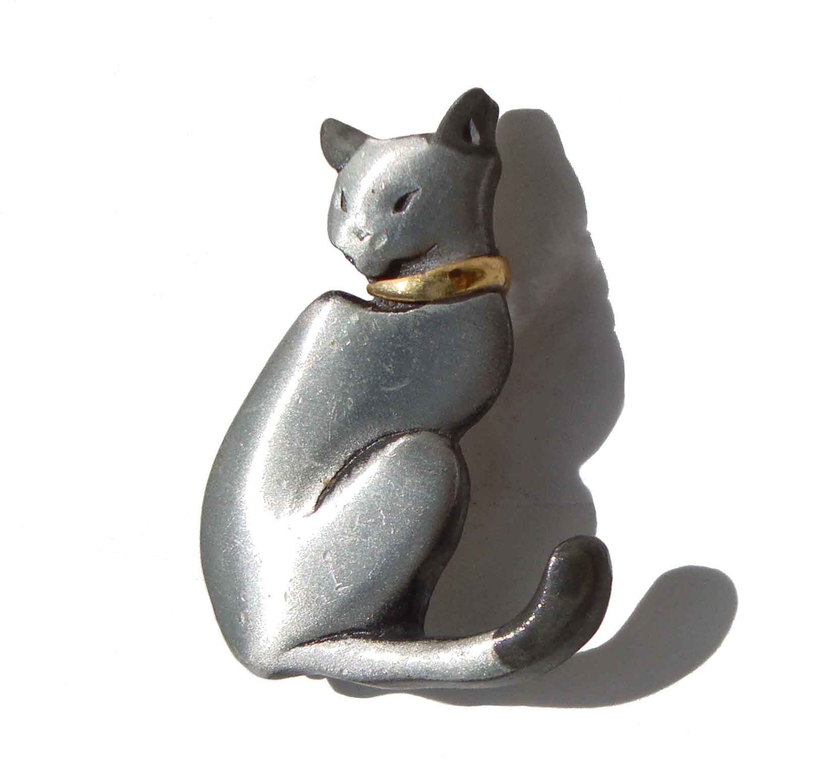 Vintage Siamese Cat Brooch Pewter Pin - Mark Shields