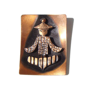 Modernist Asian Copper Brooch Abstract Novelty Pin