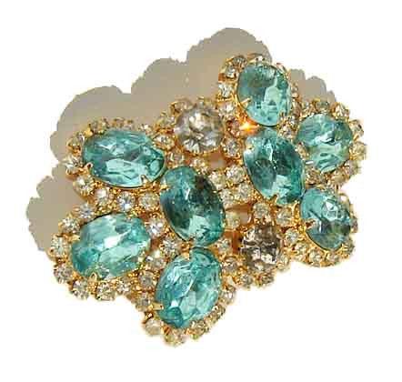 Juliana Rhinestone Buckle DeLizza & Elster Aquamarine Belt Buckle